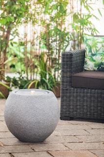 """Heissner Garden Fountain """"Ball LED"""", granite color, 50x50x43cm (016601-09)"""