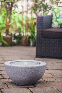 "Heissner Garden Fountain ""Half Ball LED"", granite color, 50x50x25cm (016602-09)"