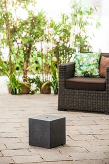 "Heissner Gartenbrunnen-Sockel ""Cube"", black color, 31x31x31cm (016611-03)"