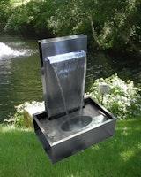 Gardenforma Edelstahl Wasserfall Galton inkl. Pumpe und LED Beleuchtung