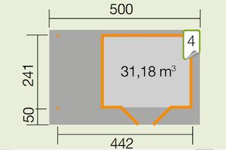 Weka Designhaus 126 A+ inkl. 150 cm Anbau und extra hoher Tür - 28 mm