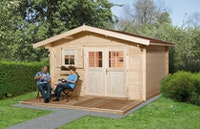 Weka 45 mm Gartenhaus 136 mit Vordach (60 cm)