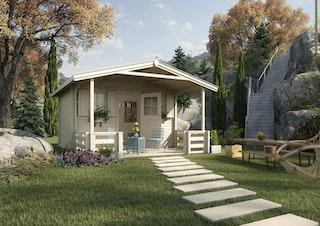 Weka 45 mm Weekendhaus 138 B mit Vordach+Terrasse
