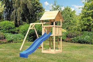 Akubi Kinderspielturm Lotti mit Satteldach inkl. Wellenrutsche und Einzelschaukelanbau