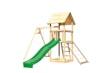Akubi Kinderspielturm Lotti mit Satteldach inkl. Wellenrutsche, Einzelschaukelanbau und Netzrampe