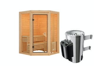 Karibu Sauna Carli 1 - Massivholzsauna mit Eckeinstieg 40 mm