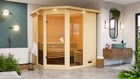 Karibu Sauna Carli 2 - Massivholzsauna mit Eckeinstieg 40 mm