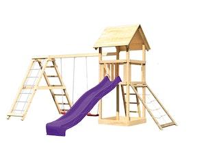 Akubi Kinderspielturm Lotti mit Satteldach inkl. Wellenrutsche, Doppelschaukelanbau, Klettergerüst und Netzrampe