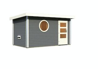 Karibu Saunahaus Skrollan 3 mit Vorraum terragrau (Rundfenster)