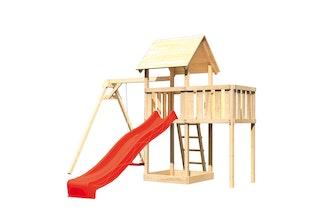 Akubi Kinderspielturm Lotti mit Satteldach inkl. Wellenrutsche, Einzelschaukelanbau und Anbauplattform