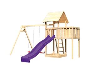 Akubi Kinderspielturm Lotti mit Satteldach inkl. Wellenrutsche, Doppelschaukelanbau und Anbauplattform
