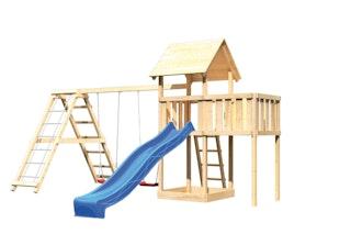Akubi Kinderspielturm Lotti mit Satteldach inkl. Wellenrutsche, Doppelschaukelanbau, Klettergerüst und Anbauplattform