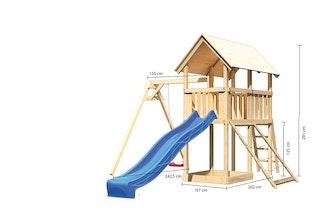 Akubi Kinderspielturm Danny mit Wellenrutsche, Einzelschaukelanbau und Netzrampe