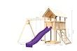Akubi Kinderspielturm Danny mit Wellenrutsche, Doppelschaukelanbau und Netzrampe