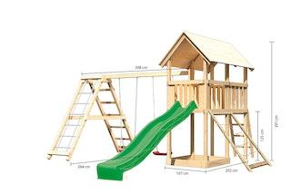 Akubi Kinderspielturm Danny mit Satteldach inkl. Wellenrutsche, Doppelschaukelanbau, Klettergerüst und Netzrampe