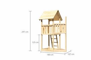 Akubi Kinderspielturm Lotti mit Satteldach inkl. Schiffsanbau oben
