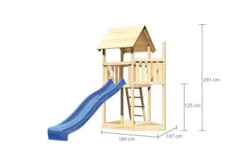 Akubi Kinderspielturm Lotti mit Satteldach inkl. Schiffsanbau oben und Rutsche