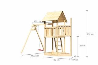 Akubi Kinderspielturm Lotti mit Satteldach inkl. Schiffsanbau oben und Einzelschaukelanbau