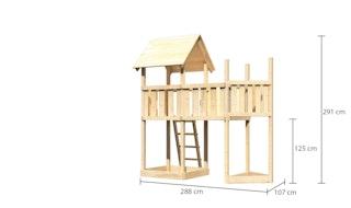 Akubi Kinderspielturm Lotti mit Satteldach inkl. Schiffsanbau oben und Anbauplattform