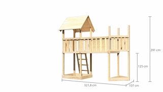Akubi Kinderspielturm Lotti mit Satteldach inkl. Schiffsanbau oben und Anbauplattform XL