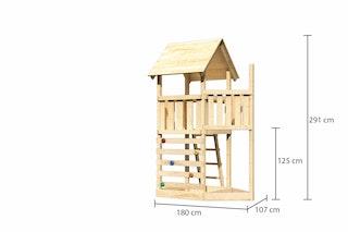 Akubi Kinderspielturm Lotti mit Satteldach inkl. Schiffsanbau oben und Kletterwand