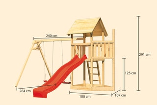 Akubi Kinderspielturm Lotti mit Satteldach inkl. Schiffsanbau oben, Wellenrutsche und Doppelschaukelanbau
