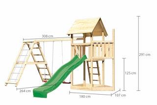 Akubi Kinderspielturm Lotti mit Satteldach inkl. Schiffsanbau oben, Wellenrutsche, Doppelschaukelanbau und Klettergerüst