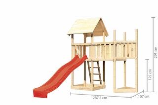Akubi Kinderspielturm Lotti mit Satteldach inkl. Schiffsanbau oben, Wellenrutsche und Anbauplattform