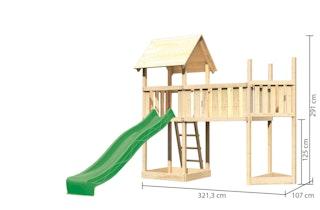 Akubi Kinderspielturm Lotti mit Satteldach inkl. Schiffsanbau oben, Wellenrutsche und Anbauplattform XL