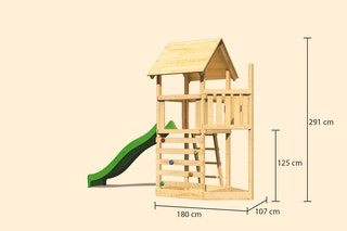 Akubi Kinderspielturm Lotti mit Satteldach inkl. Schiffsanbau oben, Rutsche und Kletterwand