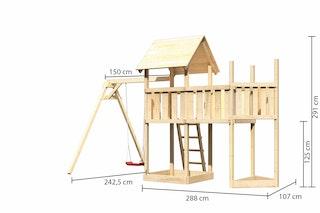 Akubi Kinderspielturm Lotti mit Satteldach inkl. Schiffsanbau oben, Anbauplattform und Einzelschaukelanbau