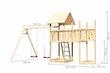 Akubi Kinderspielturm Lotti mit Satteldach inkl. Schiffsanbau oben, Anbauplattform und Doppelschaukelanbau