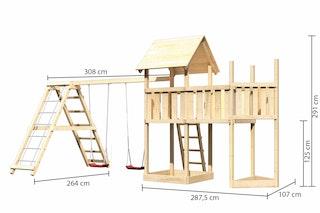 Akubi Kinderspielturm Lotti mit Satteldach inkl. Schiffsanbau oben, Anbauplattform und Doppelschaukelanbau und Klettergerüst