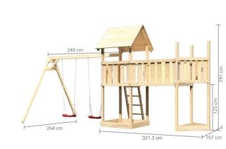 Akubi Kinderspielturm Lotti mit Satteldach inkl. Schiffsanbau oben, Anbauplattform XL und Doppelschaukelanbau