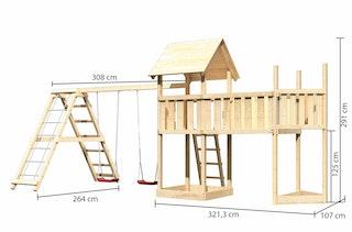Akubi Kinderspielturm Lotti mit Satteldach inkl. Schiffsanbau oben, Anbauplattform XL und Doppelschaukelanbau und Klettergerüst