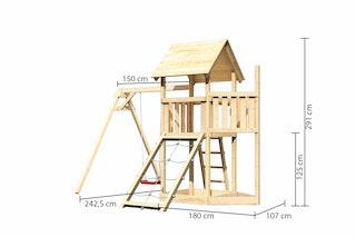 Akubi Kinderspielturm Lotti mit Satteldach inkl. Schiffsanbau oben, Netzrampe und Einzelschaukelanbau