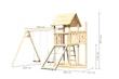 Akubi Kinderspielturm Lotti mit Satteldach inkl. Schiffsanbau oben, Netzrampe und Doppelschaukelanbau