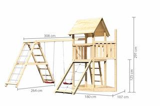 Akubi Kinderspielturm Lotti mit Satteldach inkl. Schiffsanbau oben, Netzrampe, Doppelschaukelanbau und Klettergerüst