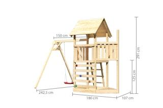 Akubi Kinderspielturm Lotti mit Satteldach inkl. Schiffsanbau oben, Kletterwand und Einzelschaukelanbau