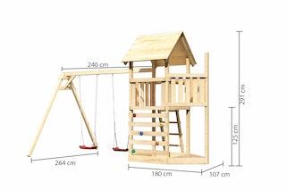 Akubi Kinderspielturm Lotti mit Satteldach inkl. Schiffsanbau oben, Kletterwand und Doppelschaukelanbau