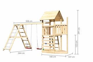 Akubi Kinderspielturm Lotti mit Satteldach inkl. Schiffsanbau oben, Kletterwand, Doppelschaukelanbau und Klettergerüst