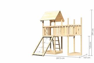 Akubi Kinderspielturm Lotti mit Satteldach inkl. Schiffsanbau oben, Netzrampe und Anbauplattform