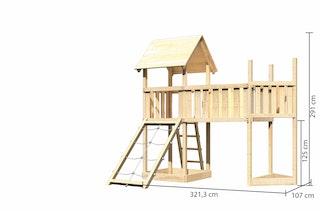 Akubi Kinderspielturm Lotti mit Satteldach inkl. Schiffsanbau oben, Netzrampe und Anbauplattform XL