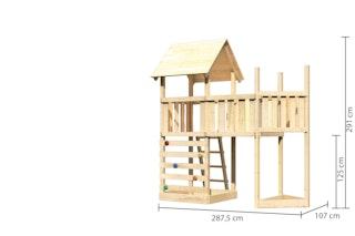 Akubi Kinderspielturm Lotti mit Satteldach inkl. Schiffsanbau oben, Kletterwand und Anbauplattform