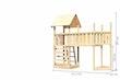 Akubi Kinderspielturm Lotti mit Satteldach inkl. Schiffsanbau oben, Kletterwand und Anbauplattform XL