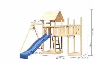 Akubi Kinderspielturm Lotti mit Satteldach inkl. Schiffsanbau oben, Anbauplattform, Einzelschaukelanbau und Wellenrutsche