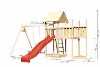 Akubi Kinderspielturm Lotti mit Satteldach inkl. Schiffsanbau oben, Anbauplattform, Doppelschaukelanbau und Wellenrutsche