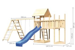 Akubi Kinderspielturm Lotti mit Satteldach inkl. Schiffsanbau oben, Anbauplattform, Doppelschaukelanbau, Wellenrutsche und Klettergerüst