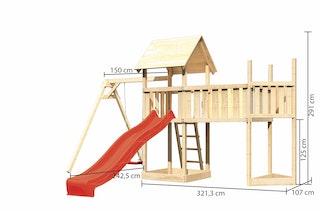 Akubi Kinderspielturm Lotti mit Satteldach inkl. Schiffsanbau oben, Anbauplattform XL, Einzelschaukelanbau und Wellenrutsche