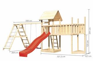 Akubi Kinderspielturm Lotti mit Satteldach inkl. Schiffsanbau oben, Anbauplattform XL, Wellenrutsche, Doppelschaukelanbau und Klettergerüst